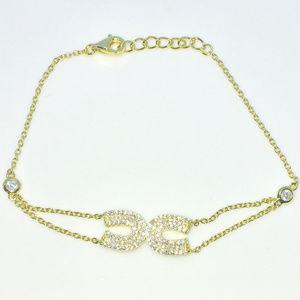 Gold 7 inch Horse Shoe CZ cable chain Bracelet